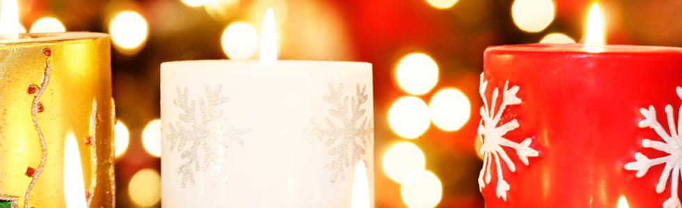 Kaarsen met kerstopdruk