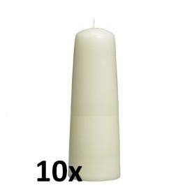 10 stuks ivoorkleurige dompelkaarsen 155/65