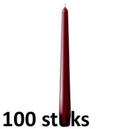 50 stuks dinerkaarsen van 24,5 cm lengte in de kleur bordeaux rood, als voordeelverpakking