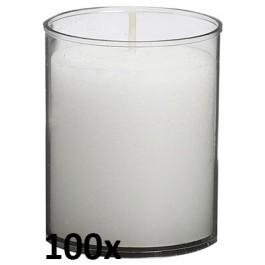 100 stuks Bolsius relight kaars in transparant kunststof kaarsenhouder, voordeel verpakking