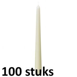 50 stuks dinerkaarsen van 24,5 cm lengte in de kleur ivoor, als voordeelverpakking