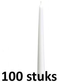 50 stuks dinerkaarsen van 24,5 cm lengte in de kleur wit, als voordeelverpakking