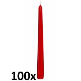 100 stuks kwaliteits gotische kaarsen van Bolsius kleur rood
