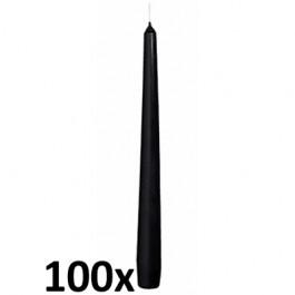 100 stuks kwaliteits gotische kaarsen van Bolsius kleur zwart