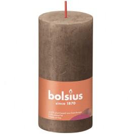 Bolsius suede bruin rustiek stompkaarsen 100/50 (30 uur) Eco Shine Suede Brown