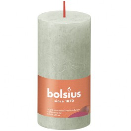 Bolsius lichtgroen rustiek stompkaarsen 100/50 (30 uur) Eco Shine Foggy Green