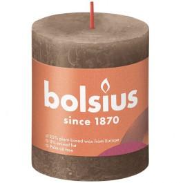 Bolsius suede bruin rustiek stompkaars 80/68 (35 uur) Eco Shine Suede Brown