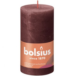 Bolsius wijnrood rustiek stompkaarsen 130/68 (60 uur) Eco Shine Velvet Red