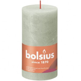 Bolsius lichtgroen rustiek stompkaarsen 130/68 (60 uur) Eco Shine Foggy Green