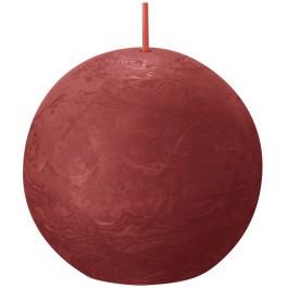 Bolsius rood rustiek bolkaars Ø 76 mm (25 uur) Eco Shine Delicate Red