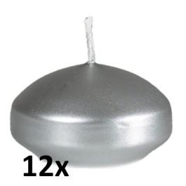 12 stuks zilver metallic gelakte drijfkaarsen set (4 uur)