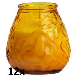 12x U-lights lowboy amber, de sfeervolle buiten- en binnen kaarsen in sierlijk doorzichtig sfeerglas
