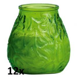 12x U-lights lowboy lime groen, de sfeervolle buiten- en binnen kaarsen in sierlijk doorzichtig sfeerglas
