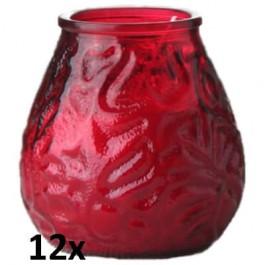 12x Lowboy rood, de sfeervolle buiten- en binnen kaarsen in sierlijk doorzichtig sfeerglas