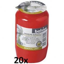 20 stuks rode Bolsius graflichten nr. 3 in een voordeel verpakking