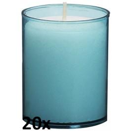 20 stuks Bolsius relight kaars in aqua blauw kunststof kaarsenhouder, voordeel verpakking