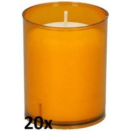 20 stuks Bolsius relight kaars in oranje kunststof kaarsenhouder, voordeel verpakking