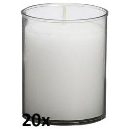 20 stuks Bolsius relight kaars in transparant kunststof kaarsenhouder, voordeel verpakking