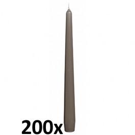 200 stuks kwaliteits gotische kaarsen van Bolsius kleur taupe