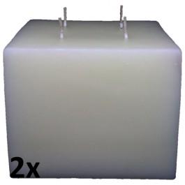 2 stuks witte vierkante blok kaarsen