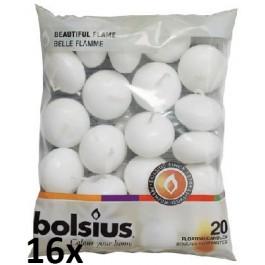16 zakken met 20 stuks witte 4,5 uur drijflichtjes 20/45 Bolsius, voordeel verpakking