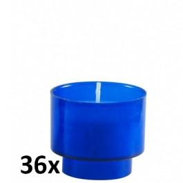 Set van 36 stuks blauwe votive kaarsjes online te bestellen als voordeel verpakking