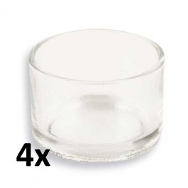 4 stuks robuuste theelicht en waxinelicht glaasjes