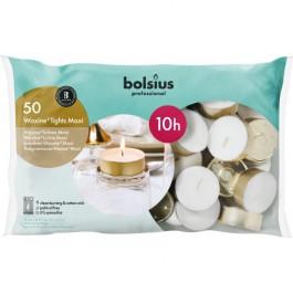 50 stuks Bolsius professional witte 10-uurs maxi waxinelichtjes met goudkleurige cups in Horeca zak