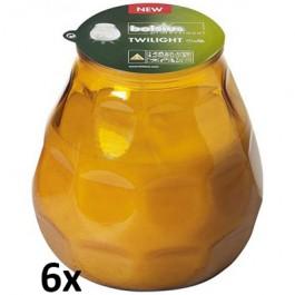 6 stuks amber geel twilights lowboys van Bolsius in voordeel verpakking