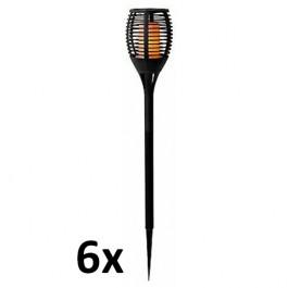 6 stuks kleine led tuinfakkel met vlam effect 48 cm hoog