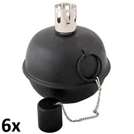 6 stuks tuimel toortsen / olielampen zwart 15 cm als voordeelverpakking