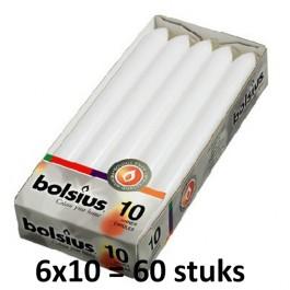60 stuks Bolsius wit dinerkaarsen 230/20