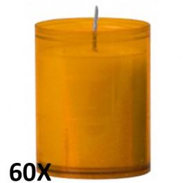 60 stuks refill kaarsen in amber transparant kunststof kaarsenhouders, voordeel verpakking