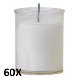 60 stuks refill kaarsen in doorzichtig transparant kunststof kaarsenhouders, voordeel verpakking