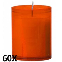 60 stuks refill kaarsen in oranje transparant kunststof kaarsenhouders, voordeel verpakking