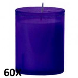 60 stuks refill kaarsen in paars transparant kunststof kaarsenhouders, voordeel verpakking