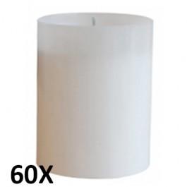 60 stuks refill kaarsen in warm wit transparant kunststof kaarsenhouders, voordeel verpakking