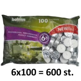 600 stuks witte 6 uur waxinelichtjes 21/38 Bolsius ( 6 zakken met 100 stuks )