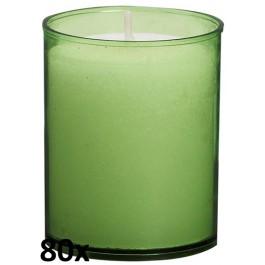 80 stuks Bolsius relight kaars in lime groen kunststof kaarsenhouder, voordeel verpakking