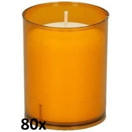 80 stuks Bolsius relight kaars in oranje kunststof kaarsenhouder, voordeel verpakking
