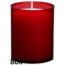 80 stuks Bolsius relight kaars in rood kunststof kaarsenhouder, voordeel verpakking