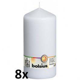 8 stuks witte stompkaarsen 200/100 van Bolsius extra goedkoop in een voordeel verpakking