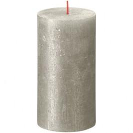 Bolsius metalliek zilver gelakte rustieke stompkaarsen 130/68 (60 uur) Shimmer Metallic Champagne