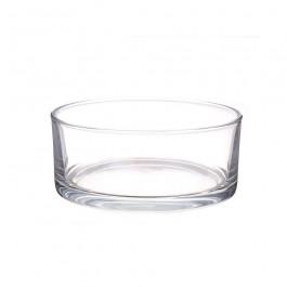 Dik glazen schaal voor drijfkaarsen en drijflichten. Diameter 19 cm x Hoogte 8 cm