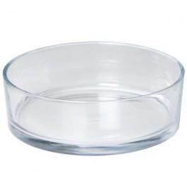 Dik glazen schaal voor drijfkaarsen en drijflichten. Diameter 29 cm x Hoogte 8 cm