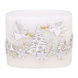 Set van Witte Santa Claus Kaarsen en Windlichten