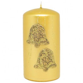 Gouden Kerstbel Stompkaars 130/70