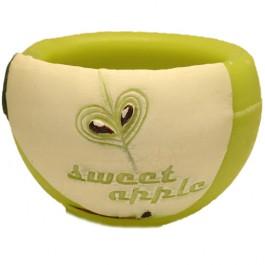 Groene appel geurende ronde wax windlicht 95/144 (incl. 1 stuk 3 uurs theelicht)