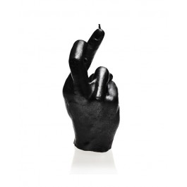Hoogglans zwart gelakte figuurkaars, design: Hand CRS Hoogte 19 cm (30 uur)