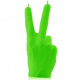 Prachtig fluorescerend groene gelakte Hand Peace figuurkaars